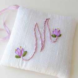 Letter M Sachet lavender silk ribbon embroidery