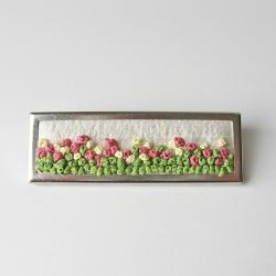 Garden Brooch hand embroidered