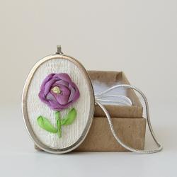 Purple Silk Rose Necklace