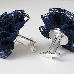 Navy Cuff Links Lace for her nautical theme