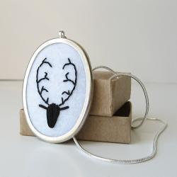 Deer Head Necklace embroidered silk ribbon